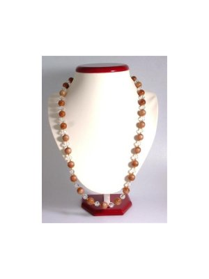 Ladies vintage Hobe faux crystal and brown bead necklace - design 12220
