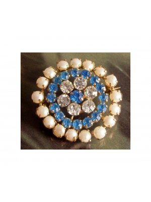 Ladies vintage pin brooch with faux pearl clear and blue rhinestone set in gold coloured metal - 12446