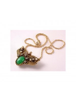 Ladies vintage Corocraft brooch that doubles as a pendant green and diamante decoration design 12457