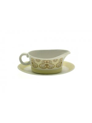 c1970 Vintage Wood and Sons Tiffany pattern gravy boat and undersaucer