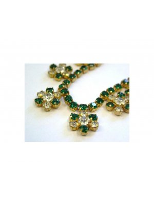Ladies vintage rhinestone necklace in a gold coloured metal - clear and green rhinestone floral drop design - 13113