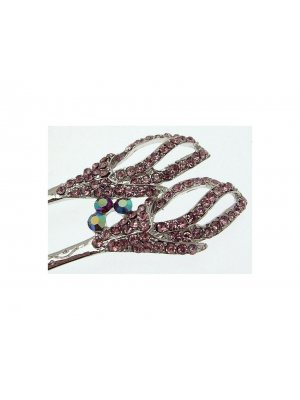 Ladies hair accessory - with separate smaller clip - pale pink diamante design