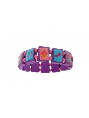 Childrens Jewellery Purple saint bracelet style wooden fashion bracelet - pink spacer beads