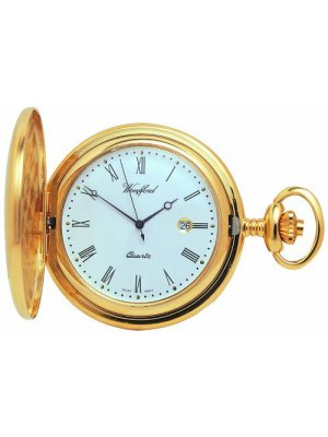 Gold plated full hunter pocket watch with date - Quartz movement
