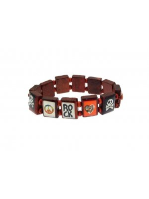 Fashion saint bracelet style wooden fashion bracelet ROCK and SKULL design - ideal for children