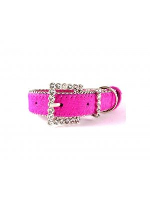 Boutique dog collar - pink leather with Austrian Crystal buckle - Size M/L