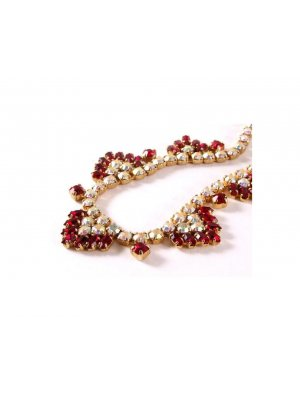 Ladies vintage rhinestone necklace in a gold coloured metal - red and rainbow effect diamante design - 13234