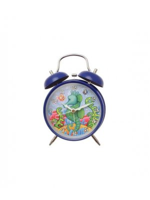 Alarm clock in blue with Seahorse design - battery operated