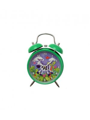 Alarm clock in green with Zebra design - battery operated