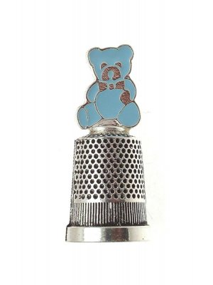 Silver plated Christening gift for a boy - silver plated thimble with enamel teddy design
