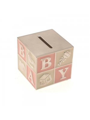 Silver plated cube money box pink and cream enamel BABY design - ideal Christening gift for a gir