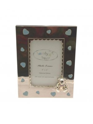 Silver plated photo frame with teddy and blue enamel heart design - ideal Christening gift