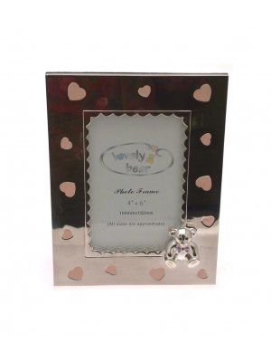 Silver plated photo frame with teddy and heart design - ideal Christening gift