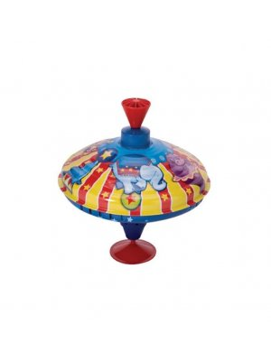 Schylling tin plate spinning top circus design