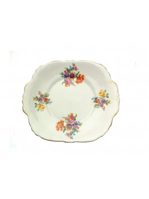 Crown Staffordshire Orange Pink and Floral pattern 10.5 inch Cake Plate