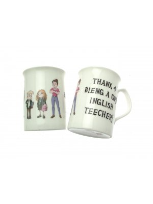 Bone china Teacher Mug - Thanx 4 Bieng a Gr8 Inglish Teecher