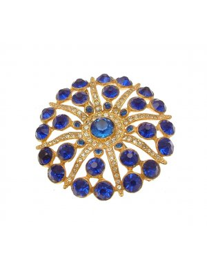 Vintage brooch blue stone and diamante starburst design 15RP