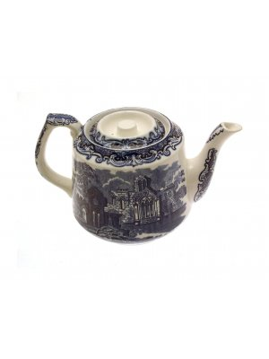 George Jones Abbey Ware blue and white teapot