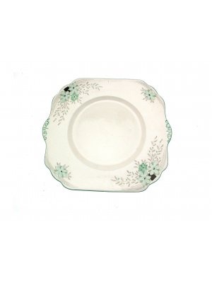 Gladstone china Art Deco Green and Black design 9.75 inch Cake Plate