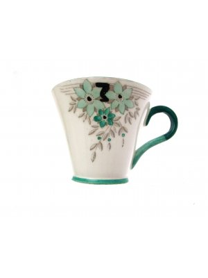Gladstone china Art Deco Green and Black design 2.75 inch Cup ONLY