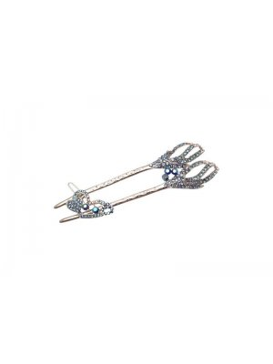 Ladies hair accessory - with separate smaller clip - blue diamante design