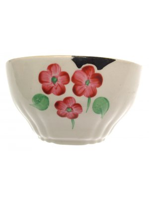 Staffordshire Ivory and hand painted floral 5 inch Open Sugar Bowl