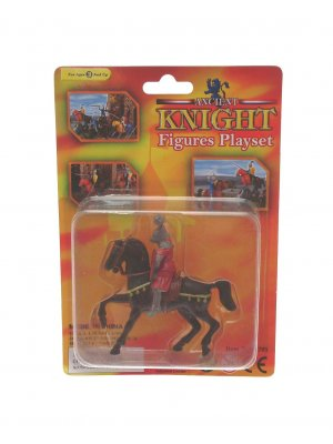 Creative play plastic knight playset on horseback black horse with gold trim