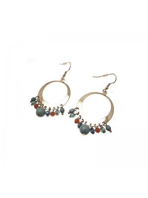 Hoop Earrings gold coloured metal hoop design with blue and red beads - GW11