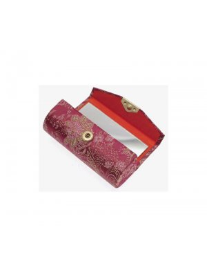 Lipstick holder in dusky pink floral silk design 21