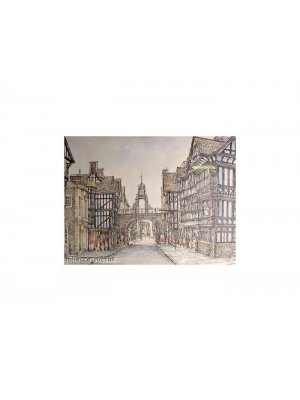 Framed and mounted coloured print of Chester
