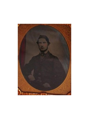 c1860 1/9 plate Ambrotype seated Victorian Gentleman with hand tinted curtain in background CLT124