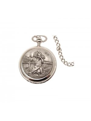 Pocket Watches For Men Mechanical Pocket Watch St Christopher design Pewter Fronted 36