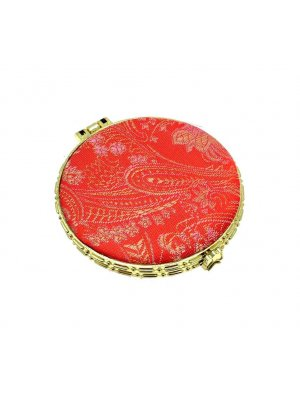 Ladies mirror compact - ideal mirror for your handbag - red silk design 2