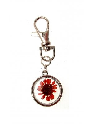 Real flowers keyring - great gift idea - Red Flower design