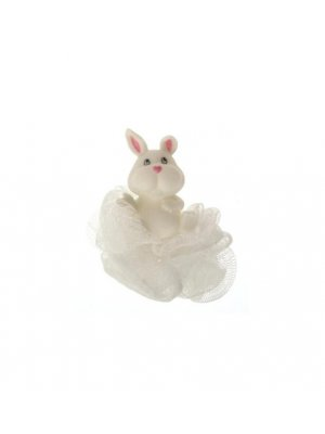 Rabbit bath sponge in white
