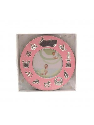 Silver plated Christening photo frame - round with pink enamelling and space for engraving