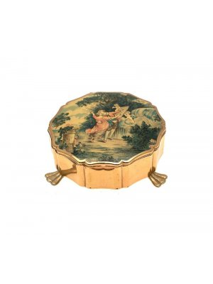 c1970s Stratton jewellery box on 3 feet classical scene to lid CLT736