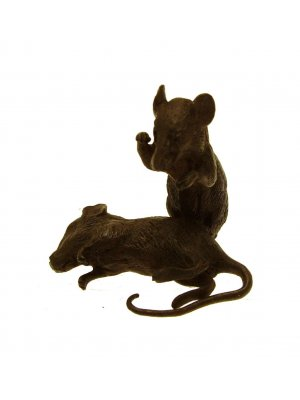 Bronze Sculptures Hand cast bronze sculpture pair of rats or mice 5 cms