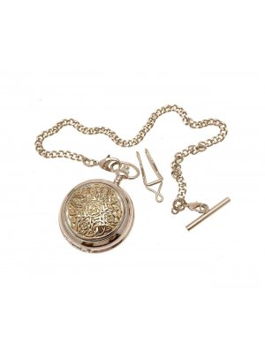 Solid Pewter Fronted Two Tone Celtic Knot Design 8 Mother Of Pearl Quartz Pocket Watch