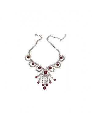 Ladies vintage necklace with clear and red rhinestone design 114315