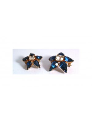 Pair of ladies vintage blue and clear rhinestone brooches set in a gold coloured metal - design 12221