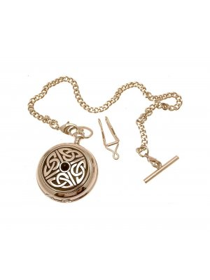 Solid Pewter Fronted 4 Triag Knot With Stone Design 3 Mother Of Pearl Quartz Pocket Watch
