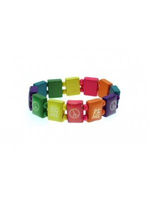 Childrens Jewellery Multicoloured wooden bracelet PEACE design with spacer beads