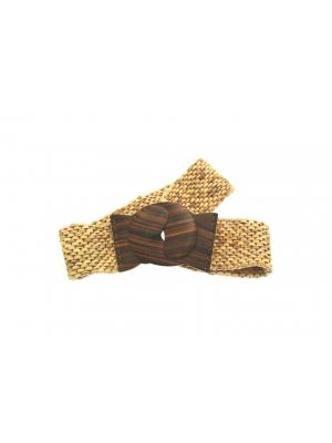 Stylish ladies belt in oatmeal wood and coconut design