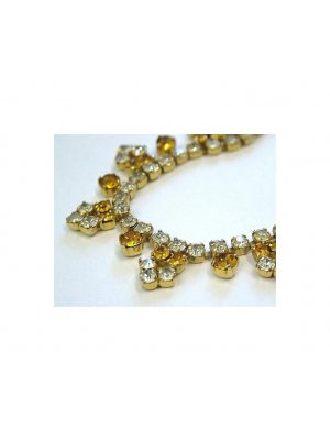 Ladies vintage clear and yellow rhinestone necklace - design 13115