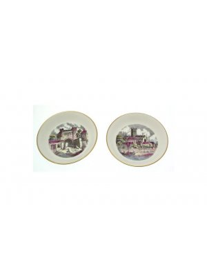 Pair of Royal Worcester pin dishes or ashtrays - Worcester Cathedral and Edgar Tower - CLT552