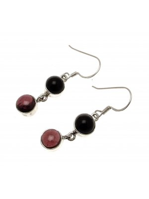 Gemstone Jewellery Garnet Gemstone Black Onyx Stone Onyx Earrings Garnet Earrings CH115