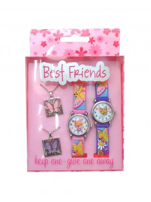 Gift pack twin pack of Best Friends watches and pendants keep one - give one away butterfly and flower design
