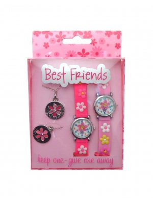 Gift pack twin pack of Best Friends watches and pendants keep one - give one away FLWR3