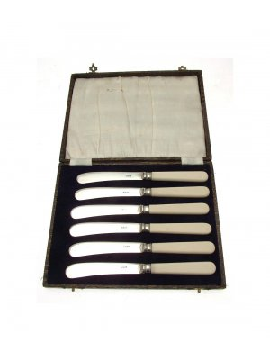 Vintage cased set of six butter knives EPNS blades CLT794